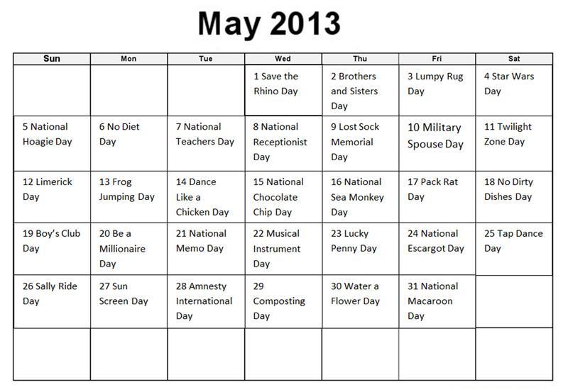 Calendar Craze May : The mustang may s holidays