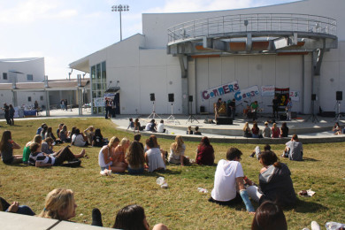 Student bands perform in front of the ampitheater at Conner's Cause.