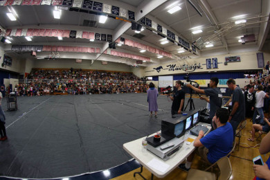 Students+gathered+in+the+gym+for+the+Homecoming+Assembly.