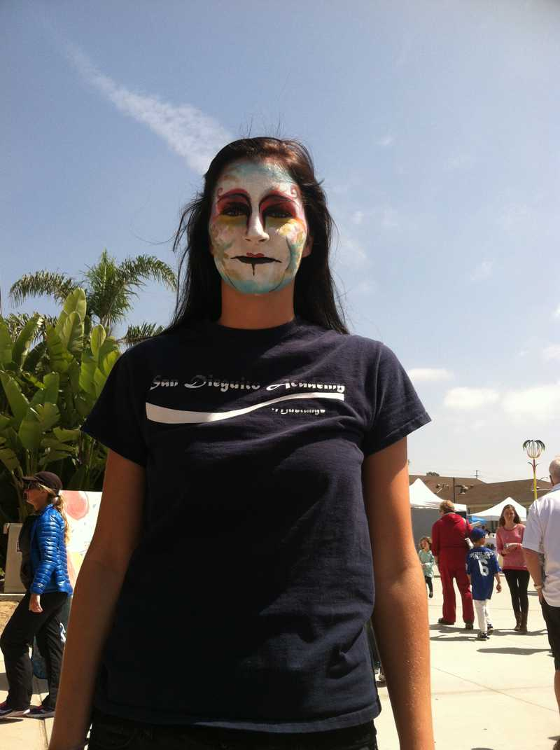 SDA Senior Irena Weaver sports face paint for Arts Fest.