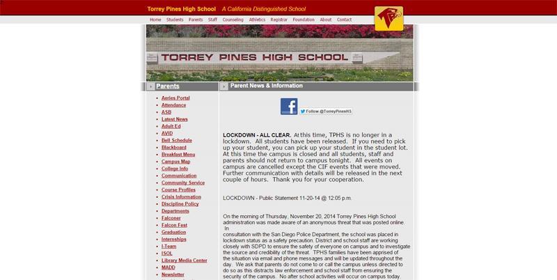 Torrey Pines High School Lockdown Cleared