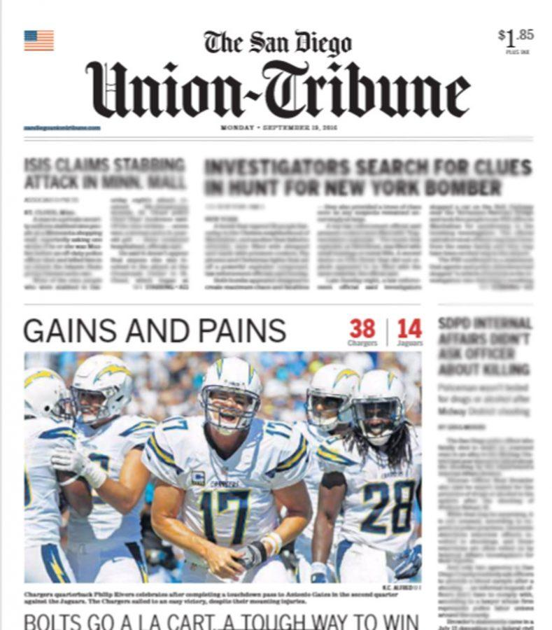 Chargers' win made front page of The San Diego Union-Tribune today.