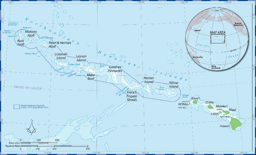 This is a map of the area that the Papahānaumokuākea Marine National Monument covers.