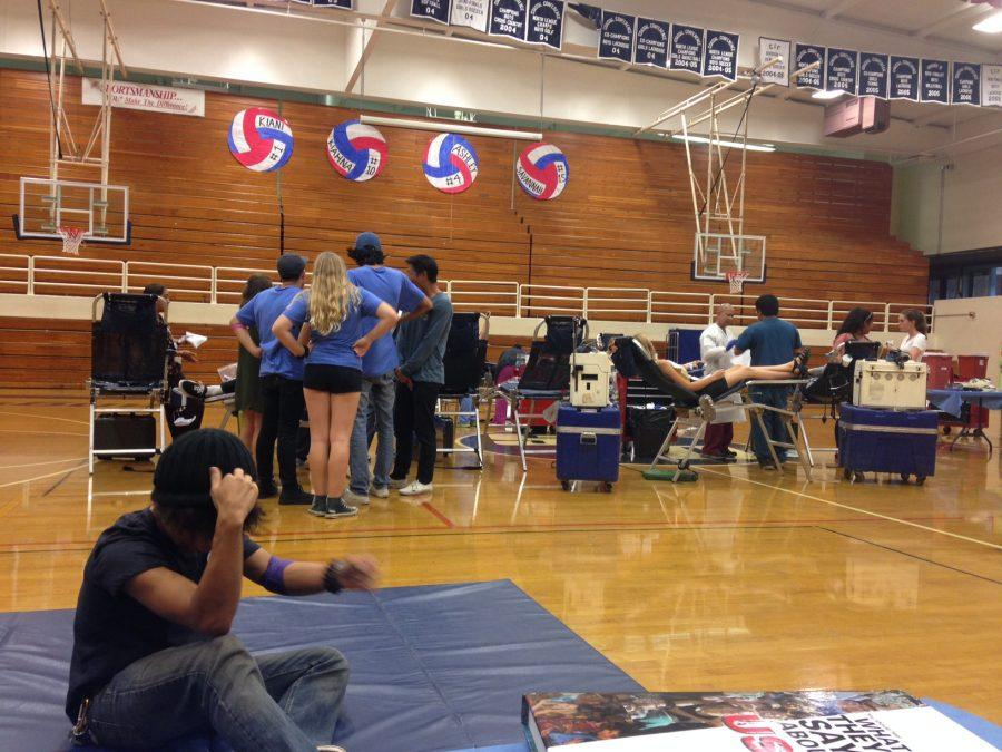 SDA students left class to donate blood in the gym.