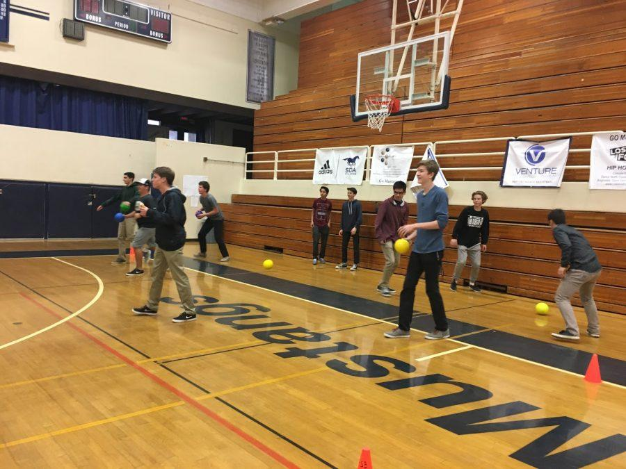 Students participate in the  practice game during lunch.