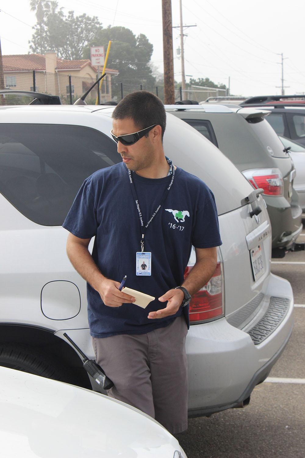 Anthony Valencia patrols the student parking lot.