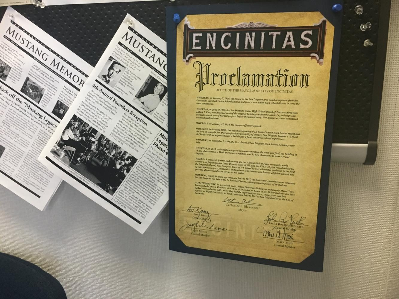 The+proclamation+from+the+City+of+Encinitas+hangs+on+the+bulletin+board+in+the+principal%27s+office.