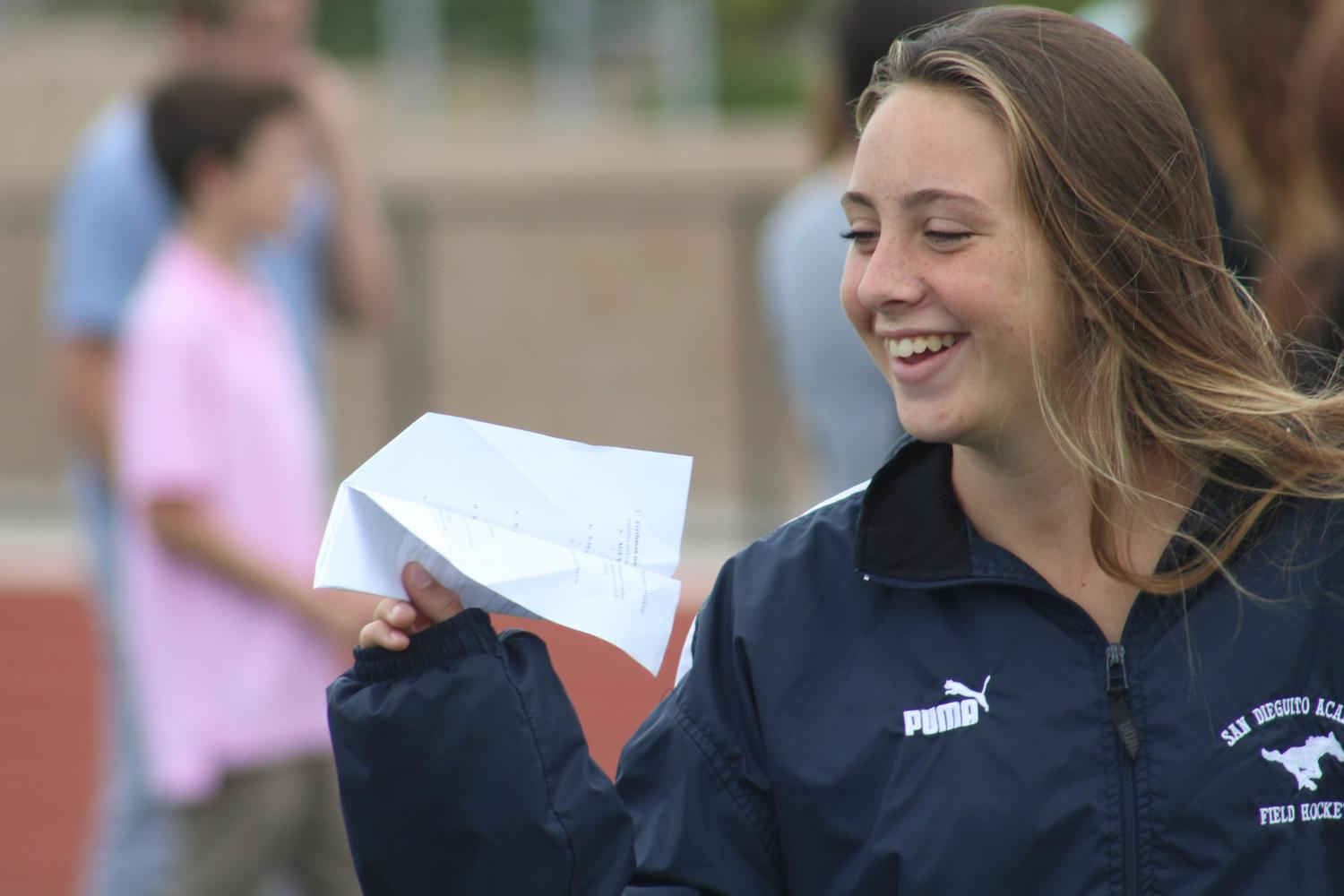 During the Link Crew event, students tested out paper airplanes made with a partner.