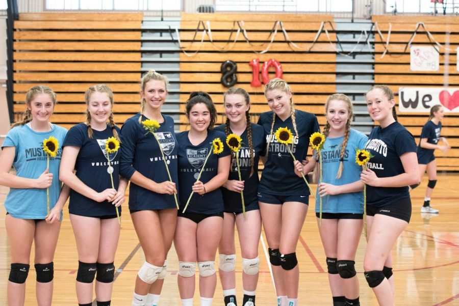 The eight seniors of girls volleyball pose at their final home game.