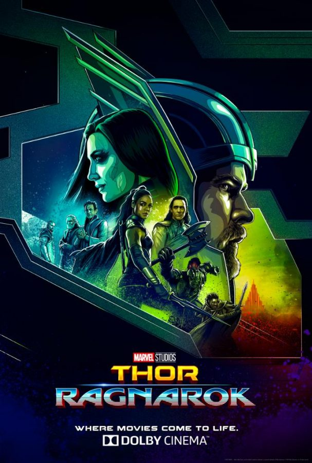 Thor accompanied by the cast of Nordic gods on a promotional poster for