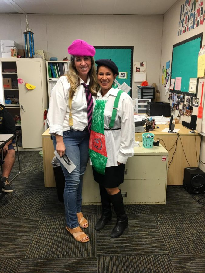 Teachers Jamie Duck and Angela Vasquez-Herrera dress as Mr. Stimson to win extra points during the scavenger hunt.