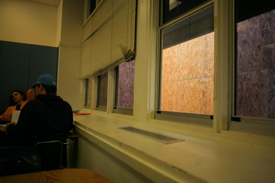 The plywood wall blocks all of the windows of English teacher Amanda Bevers classroom.