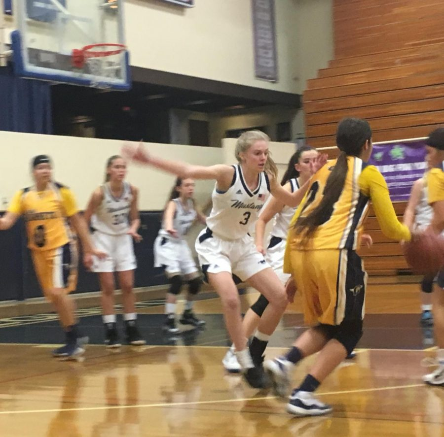 Junior Makenzie Moe held off Calipatria during the fourth quarter of the game.
