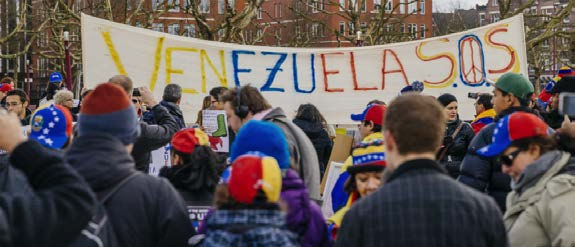 Venezuelans protesting their government for limiting political and economic freedom (April, 2017)