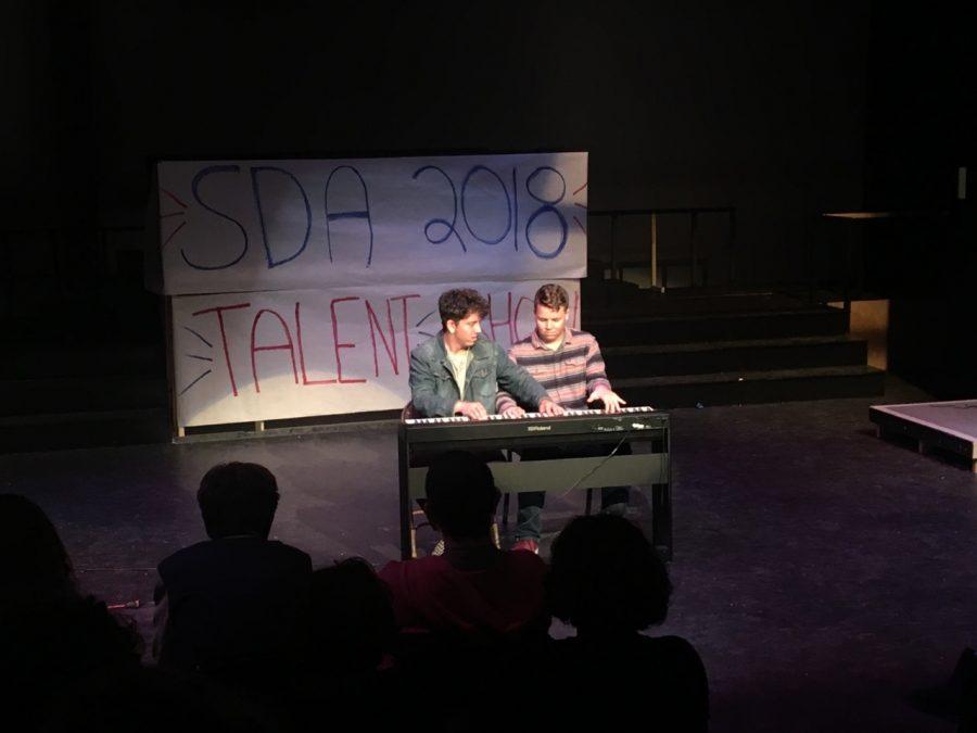 Senior Milo Spearman and junior Caeden Schlosser won first place for their piano duet.