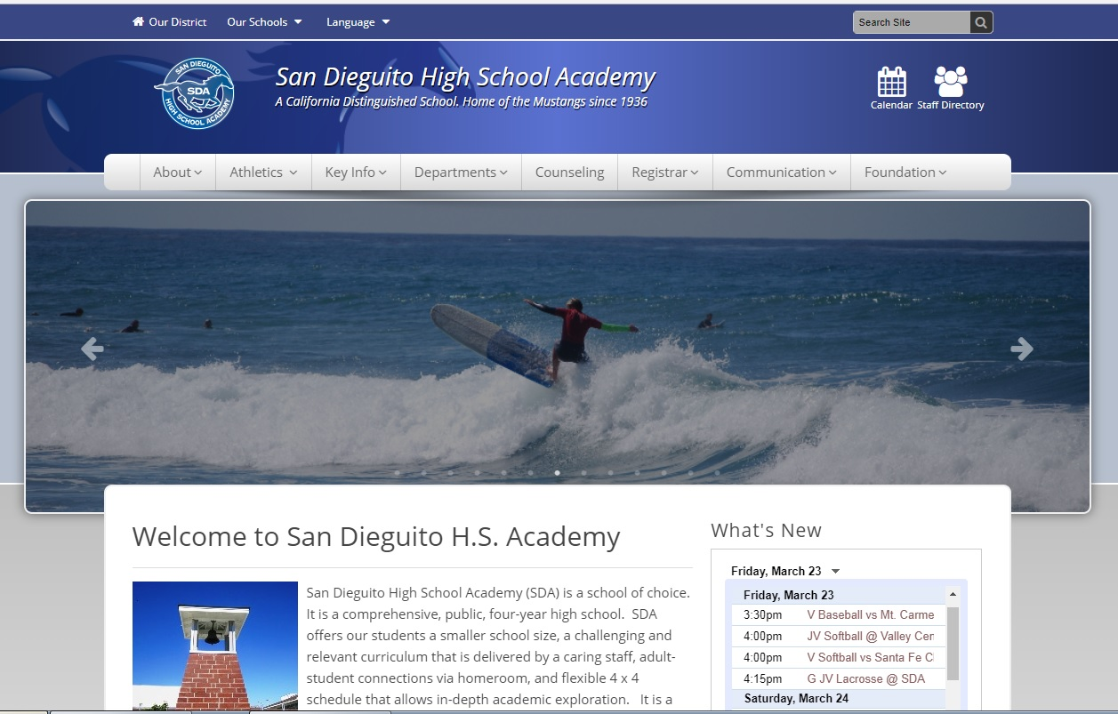 Currently, most students and parents use the SDA website as a source of information about the school.