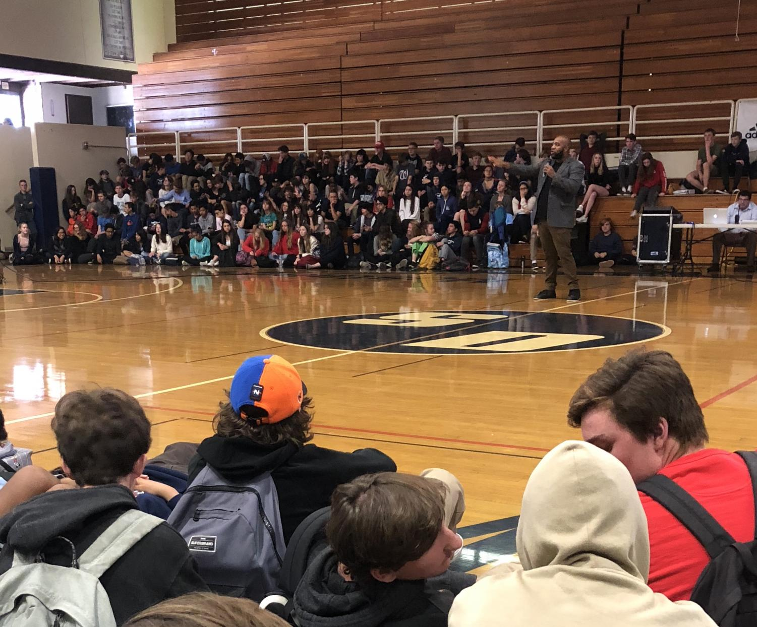 Freshmen, sophomores, and seniors gathered in the gym to hear the Sandy Hook Promise speaker.