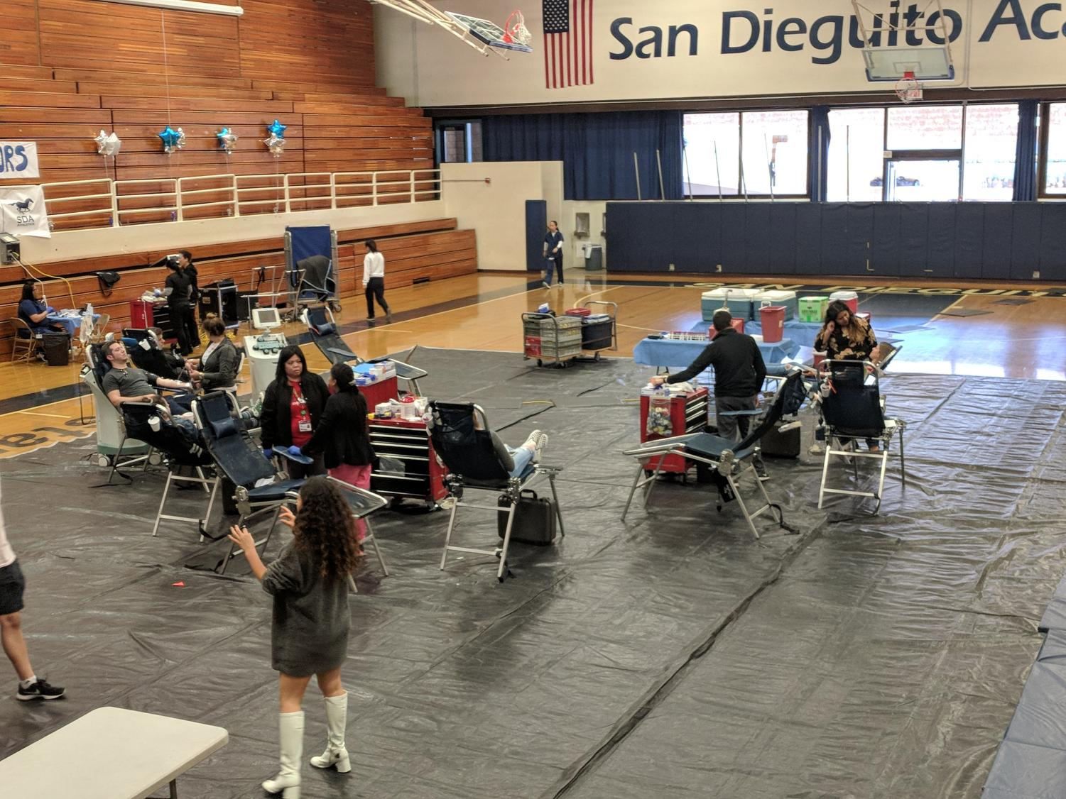 The Blood Drive set up in the gym