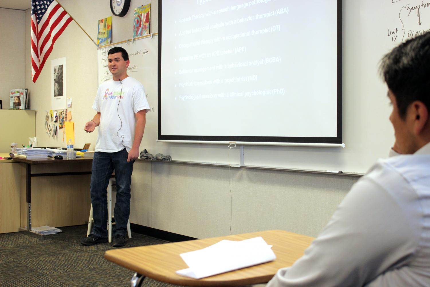 Sophomore Ethan Hirschberg presenting to students in AP Psychology