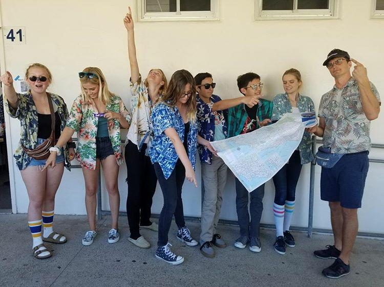3rd period AP World Class with teacher Eli Cameron dressed as confused and lost tourists.