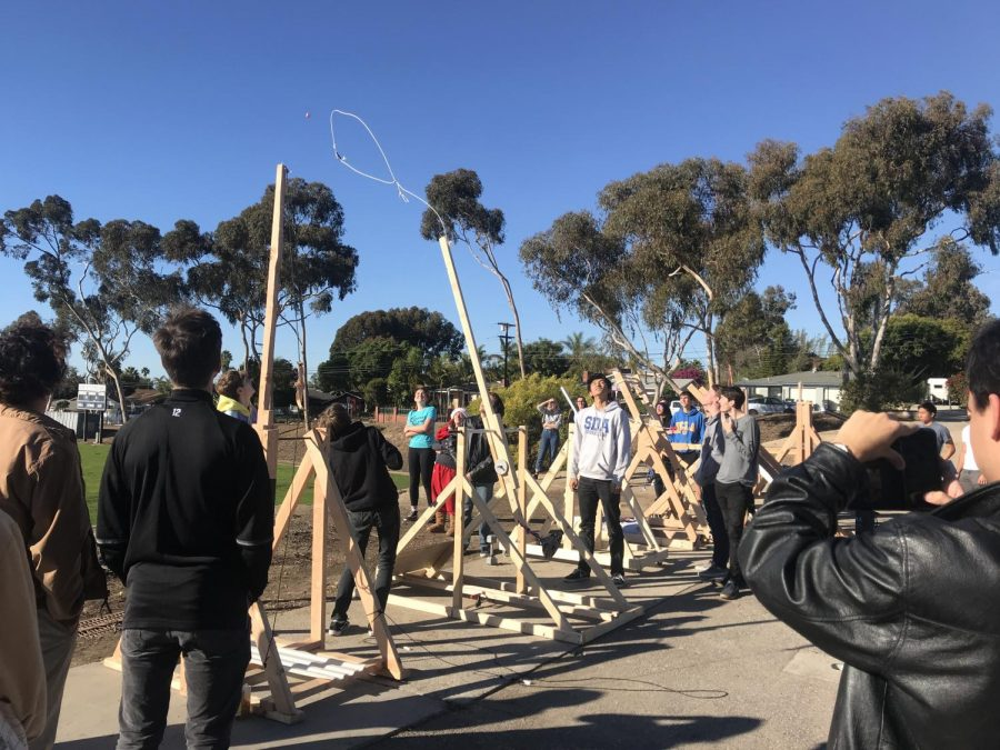Fourth+period+AP+Physics+C+students+launched+their+trebuchets+Monday+afternoon.