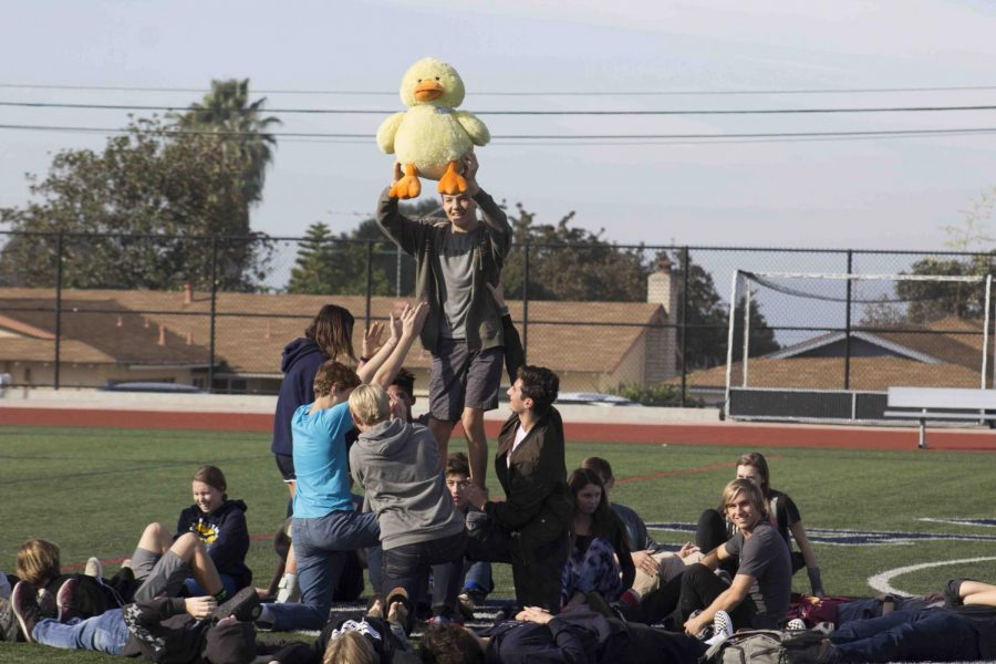 History teacher Jamie Duck's homeroom's snowflake was adorned with a giant duck stuffed animal.