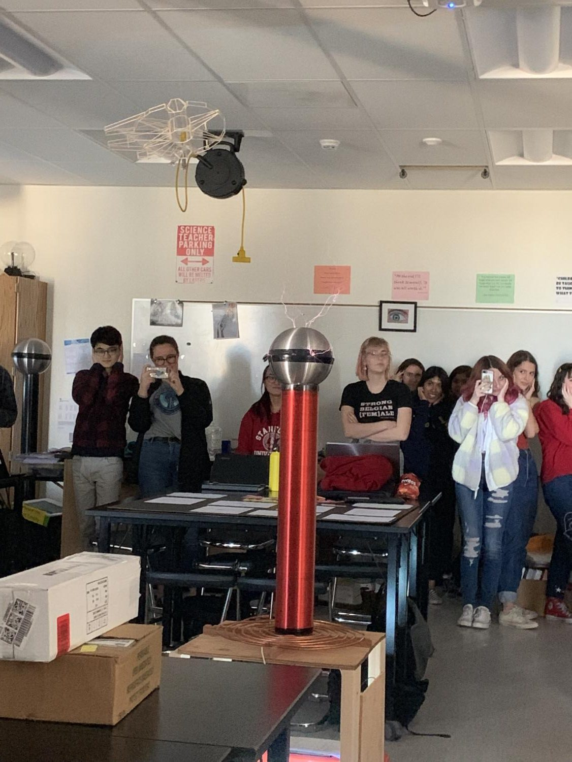 The Tesla Coil was tested three separate times during the class, shocking students with it's loud sounds.