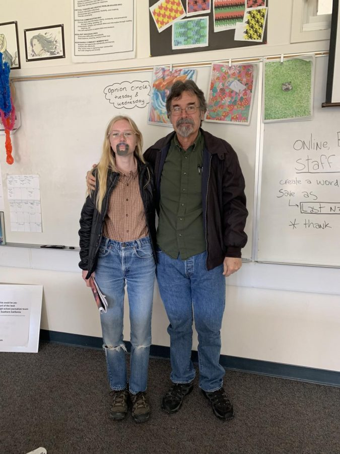 Junior Amelia Kaiser dressed up as English and Journalism teacher Tim Roberts.