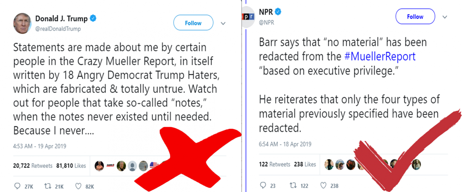 To the left is an example of what not to do in order to productively contrive a discussion from our president Trump (notice the name calling, aggressive diction, etc.) and to the right is a non bias news, source, NPR, covering the Mueller report.