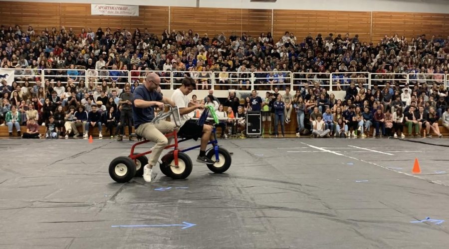 Staff and seniors competed in a tricycle race.