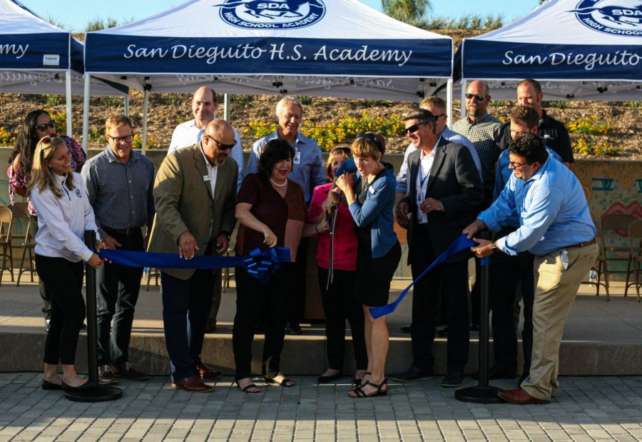 A ribbon cutting ceremony for the new Arts and Humanities building was held during the parent mixer.