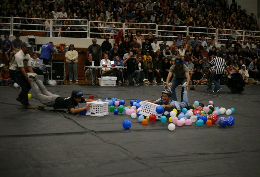 Students and staff competed in a life-size version of Hungry Hippos.