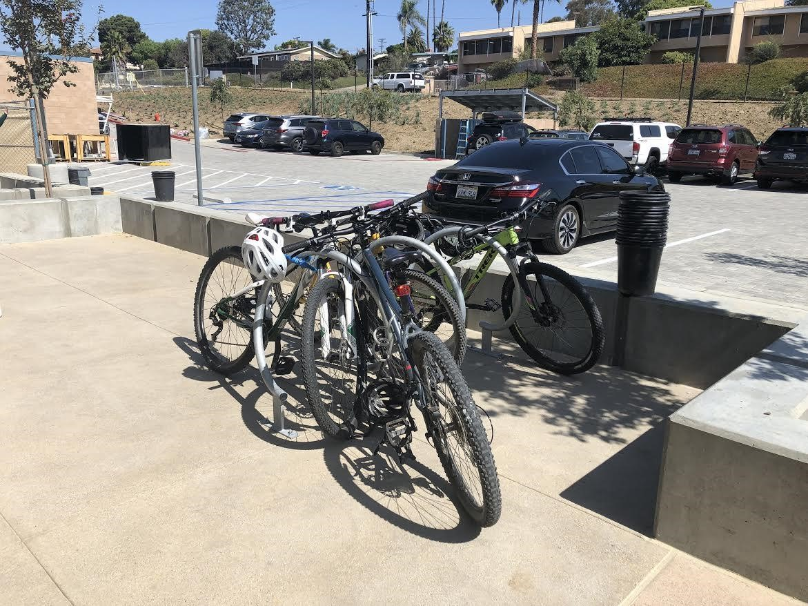 New bike racks at SDA above the new Arts and Humanities building.