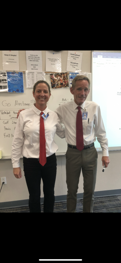 Teachers+Todd+Vollstedt+and+Melissa+Shayegan+matching+for+twin+day.
