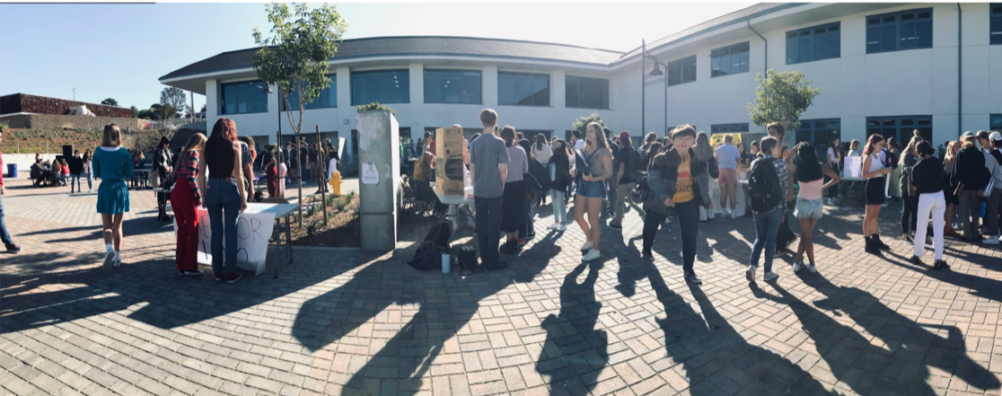 Students of all grades gathered in front of the Arts and Humanities quad to check out SDAs annual club fair.