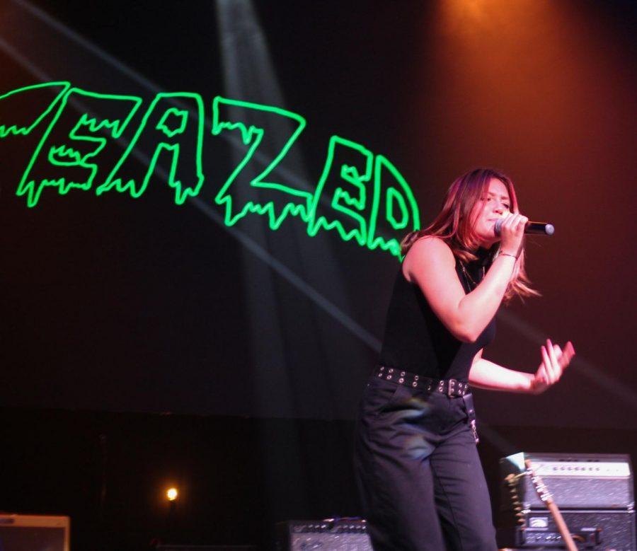 Freshman Greta Baggins sings in TeaZed.