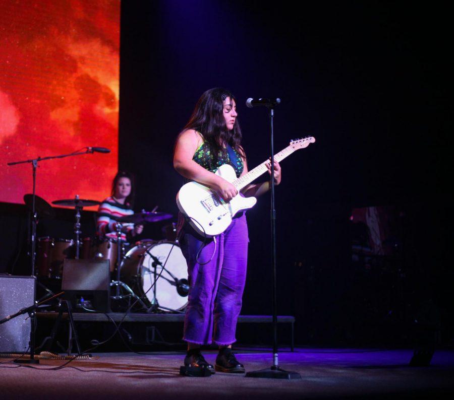 Senior Nina Tartibi of Chalk Talk on vocals and guitar.