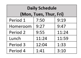 SDA's current bell schedule