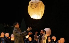 Peter and Lara Jean releasing a lantern as a symbol of their love on their first official date as a couple.