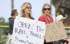Protesters at swamis beach on April 19, 2020
