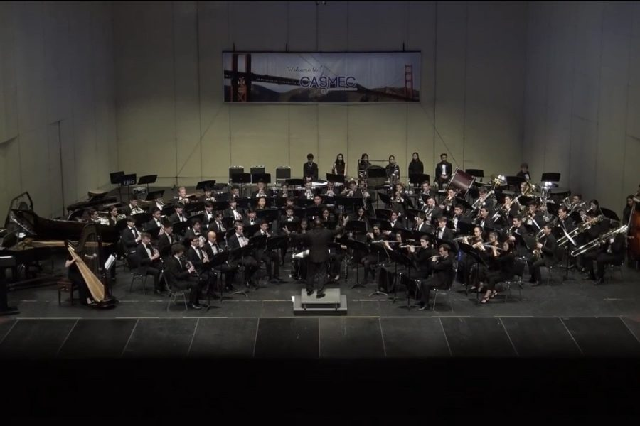 The Wind Symphony performs a forty minute piece at the William Saroyan Theatre in Fresno, CA.
