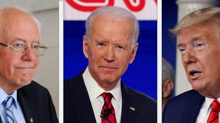 The remaining 2020 presidential candidates: Senator Bernie Sanders, former Vice President Joe Biden, and President Donald Trump.