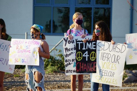 Students protest for San Dieguito to address racial inequalities in front of San Dieguito Academy on Aug. 14