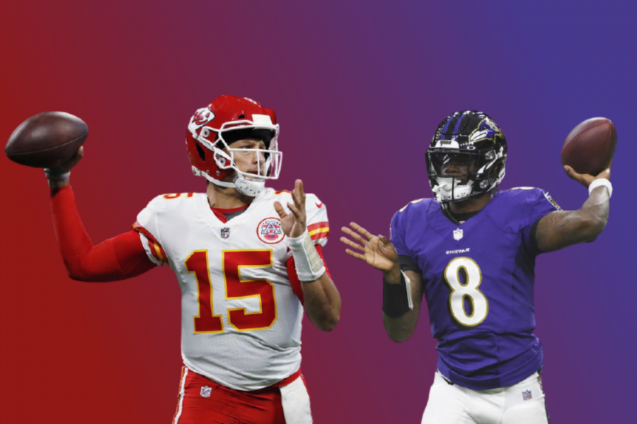Will superstar Patrick Mahomes (left), QB for the Kansas City Chiefs, or electric Lamar Jackson (right), QB for the Baltimore Ravens, prevail to move on and have a record of three wins and zero losses?