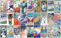 A collection of just a few of the mosaics created by Mr. Wright and other community members in Encinitas