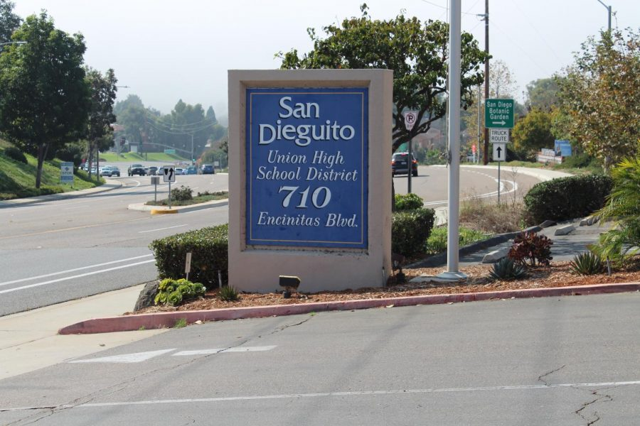 The SDUHSD building sign