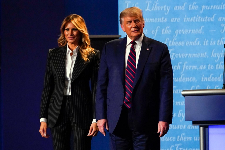 President Donald Trump stands on stage with first lady Melania Trump after the first presidential debate at Case Western University and Cleveland Clinic, in Cleveland, Ohio on Sept. 29, 2020