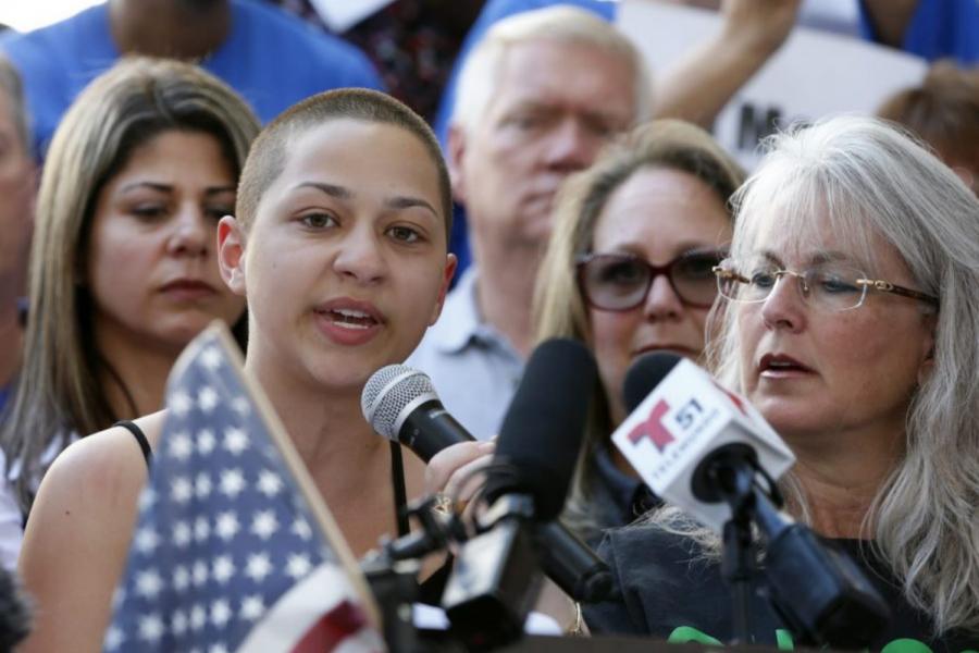 Emma Gonzalez speaking at a gun control rally on Feb. 17, 2018