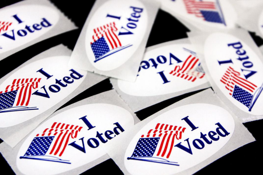 I Voted Stickers Photo by Jon Elswick/AP