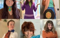 Senior Niki Kaplan as Scooby (top left), Senior  Celeste Lagrange as Daphne (top middle), Junior Tegan Schlosser as The Mystery Machine/Van (top right), Zara Holdaway as Fred (bottom left), Theatre teacher Stephanie Siers as Shaggy (bottom middle), and Senior Rachael Baum as Velma (bottom right)